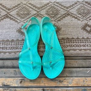 Crocs turquoise strapy sandals size 8